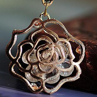 镂空玫瑰花水晶项链